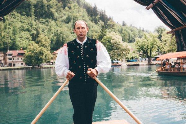 Schiffer Ruderer Pletna in Bled